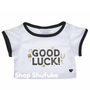 ビルドアベア 半袖Tシャツ GOOD LUCK グッドラック ぬいぐるみ テディベア ダッフィー シェリーメイ くま 洋服 白 トップス Build A Bear|shu-fu-ka