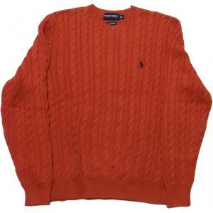 ポロゴルフ ラルフローレン ワンポイント コットン ケーブル セーター オレンジ POLO GOLF 010|shufflestore