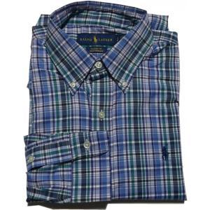 ラルフローレン 長袖 ワンポイント ボタンダウンシャツ チェック 化繊 ブルー Polo Ralph Lauren 045|shufflestore