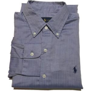 ラルフローレン 長袖 ワンポイント ボタンダウンシャツ ヘリンボーン ブルー Polo Ralph Lauren  049|shufflestore