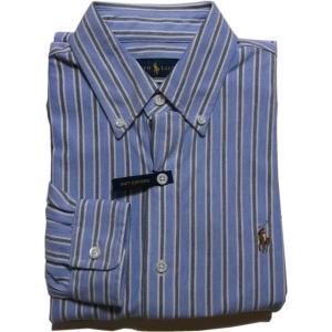 ラルフローレン 長袖 ワンポイント ボタンダウンシャツ ストライプ ブルー Polo Ralph Lauren 052|shufflestore