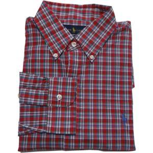ラルフローレン 長袖 ワンポイント ボタンダウンシャツ チェック レッド Polo Ralph Lauren 064|shufflestore