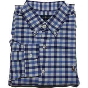 ラルフローレン 長袖 ワンポイント ボタンダウンシャツ チェック ブルー Polo Ralph Lauren 065|shufflestore