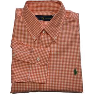 ラルフローレン 長袖 ワンポイント ボタンダウンシャツ チェック オレンジ Polo Ralph Lauren 069|shufflestore