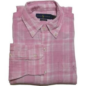 ラルフローレン 長袖 ワンポイント ボタンダウンシャツ リネン 麻 ピンク Polo Ralph Lauren 641|shufflestore