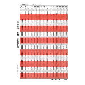 編み物 製図用品 手あみ用目数・段数早見表|shugale1