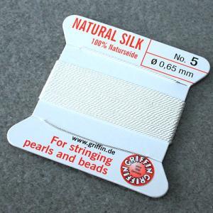 ビーズ 糸・コード 絹紐・シルクビーズコード グリフィンビーズコード ホワイト|shugale1