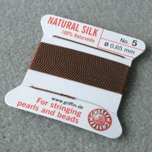 ビーズ 糸・コード 絹紐・シルクビーズコード グリフィンビーズコード ブラウン|shugale1