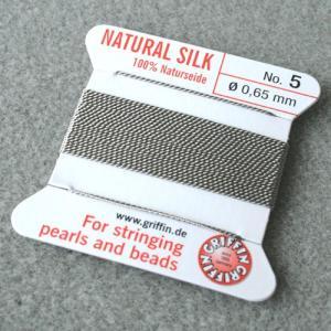ビーズ 糸・コード 絹紐・シルクビーズコード グリフィンビーズコード グレー|shugale1