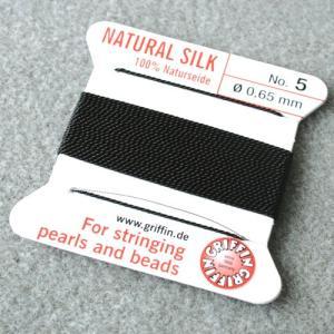 ビーズ 糸・コード 絹紐・シルクビーズコード グリフィンビーズコード ブラック|shugale1
