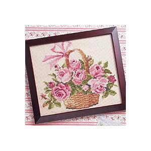 刺繍 キット オリムパス 尾上雅野 フレーム フラワー フレーム バラの花かご ベージュ shugale1