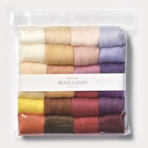 フェルト羊毛 ウールキャンディ24色セット ウォームカラー|ハマナカ 羊毛|羊毛フェルト 材料|shugale1