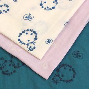 生地 ガーゼ 刺繍フラワー&バタフライ ダブルガーゼ PA47000-700|刺しゅう|ハンカチ|ガーゼケット||shugale1