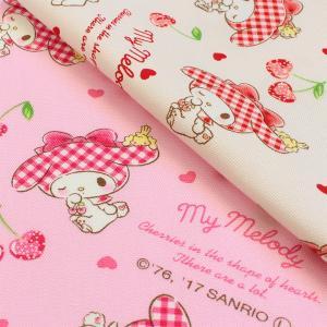 生地 綿布 サンリオ マイメロディ ハートチェリー 20オックス|巾着|ポーチ|入園|入学|オックス生地||shugale1