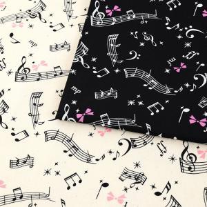 音符柄 オックス(1m単位) 切売り 切り売り 生地 布 布地 音符柄 ピアノ メロディ 女の子 リ...