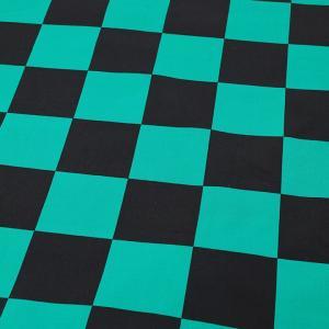 市松模様 緑×黒 ブロード(1m単位)|切売り 切り売り 生地 布 布地 市松模様 市松模様柄 羽織 チェス チェス柄 話題の和柄|shugale1