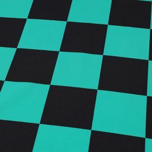 アムンゼンプリント 市松模様 緑×黒(1m単位)|切売り 切り売り 生地 布 布地 市松模様 市松模様柄 薄手 薄地 服地 チェス チェス柄 話題の和柄|shugale1