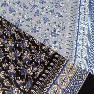 インドコットン ボイルプリント フラワーアラベスク (1m単位)|切売り 生地 布 布地 服地 綿 綿100% コットン インド綿 唐草 ポーダー|shugale1