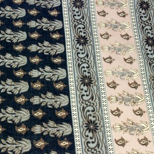 インドコットン ボイルプリント フラワーボーダー (1m単位)|切売り 生地 布 布地 服地 綿 綿100% コットン インド綿 フラワープリント|shugale1