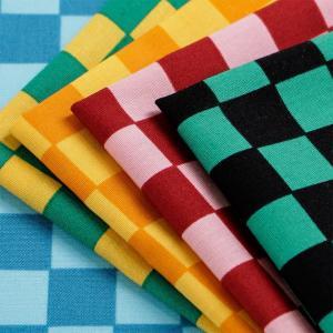 カラフル市松模様 ブロード(1m単位)|切売り 切り売り 生地 布 布地 ワンピース キッズ 子供服 手芸 材料 巾着 袋物 チェック柄 話題の和柄|shugale1