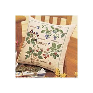 刺繍 キット オリムパス 青木和子 クッション フラワー クッション 庭のベリー ベージュ shugale1