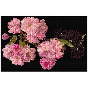 刺繍 輸入キット Thea GOUVERNEUR 八重の桜 Black Aida 512.05 shugale1