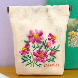 オリムパス 刺しゅうキット Flower Embroidery コスモスのバネ口ポーチ 【 サイズ(...