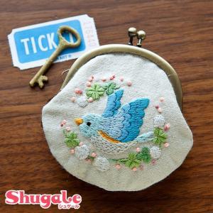 刺繍 キット piece Chicchiさんの動物刺しゅうキット がま口 とりさんとシロツメクサ|shugale1