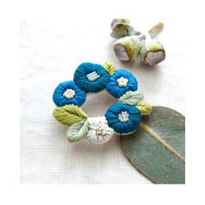 刺繍 キット piece K.omonoさんの刺しゅうアクセサリーキット fioret wreath brooch blue|期間限定SALE ||shugale1
