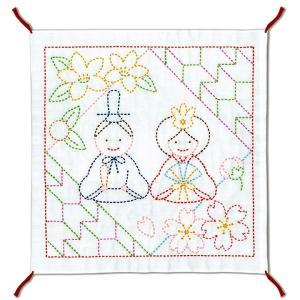 刺しゅうキット かわいいひなまつり 花ふきん お雛まつり 刺繍 キット 初心者 おひなさま ひなまつり 雛祭り 期間限定SALE  shugale1