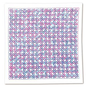 刺繍 一目刺しの花ふきんキット 風車(白)) 刺し子キット 花ふきん 晒木綿 期間限定SALE  shugale1