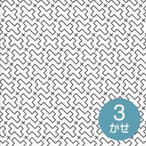 刺し子布 印刷済み布パック 一目刺しの花ふきん 流し十字(白) 晒木綿 刺し子布 図案印刷済み 期間限定SALE  shugale1