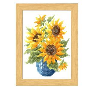 刺繍 12月の花フレーム マリー・カトレーヌコレクション 8月 サンフラワー クロスステッチ|shugale1