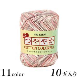 編み物 スキー つややかコットン<カラフル>10玉入...