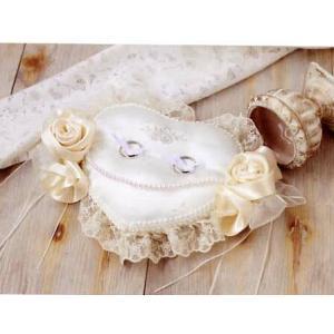 ローズのハートリングピロー 手作りキット(刺しゅう入り)  H431-126(LAS) 結婚式 shugeinohaguruma