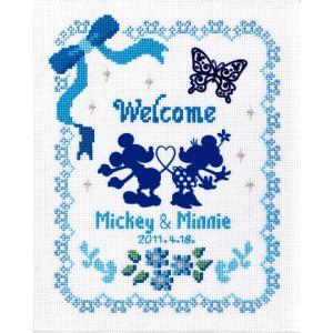 クロスステッチ 刺繍 キット (刺しゅう キット)オリムパス ウェディング 結婚式用ミッキーマウス(ディズニー) ウェルカムボード(ブルー)|shugeiya