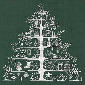 DMC 刺繍キット クリスマス(刺しゅう)クロスステッチ クリスマスツリー(グリーン/ホワイト)初心者向け