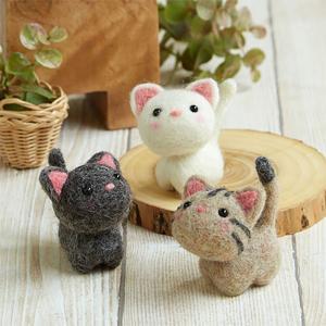 羊毛フェルト(フェルト羊毛) キット 小さなお友達 ねこたち|shugeiya