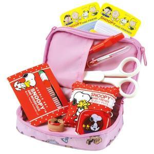 スヌーピー裁縫セット(ソーイングセット) 小学生 家庭科用 ファスナーポーチ(ピンク)|shugeiya