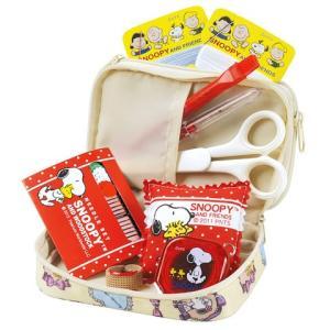特価スヌーピー裁縫セット(ソーイングセット) 小学生 家庭科用 ファスナーポーチ(クリーム) shugeiya
