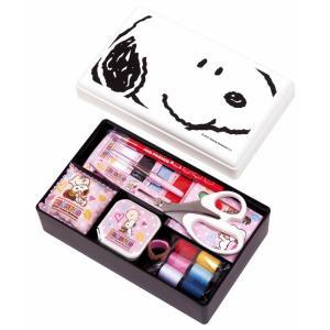 スヌーピー裁縫セット(ソーイングセット) 小学生 女の子 家庭科用 コンパクトタイプ(ホワイト)抗菌加工|shugeiya