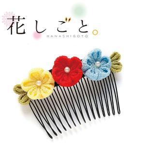 つまみ細工 手作りキット  一越ちりめん 花しごと ヘア コーム 髪飾り|shugeiya