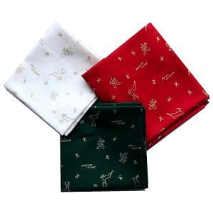 クリスマス生地 カットクロス3枚セット クリスマスモチーフ トナカイ ヒイラギ 飛び柄|shugeiya
