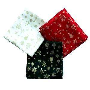 クリスマス生地 カットクロス3枚セット クリスマスモチーフ ベル 雪の結晶 飛び柄|shugeiya