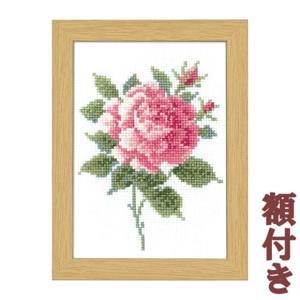 オリムパス クロスステッチ 刺繍キット 12か月の花のフレーム 5月 ピンクローズ(額付)|shugeiya