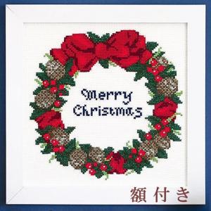 オリムパス クリスマス クロスステッチ 刺繍キット(刺しゅうキット)木の実のリース 額付|shugeiya