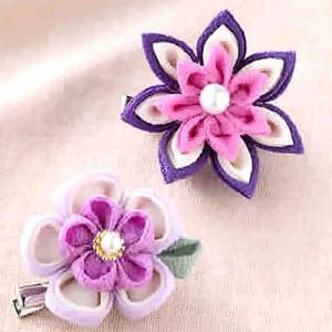 つまみ細工 キット ちりめん お花のブローチキット(紫)|shugeiya