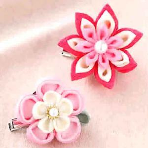 つまみ細工 キット ちりめん お花のブローチキット(ピンク)|shugeiya