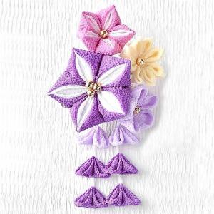 つまみ細工 キット 京ちりめん 彩花のブローチキット(紫)|shugeiya
