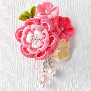 つまみ細工 キット 京ちりめん 彩花のブローチキット(ピンク)|shugeiya